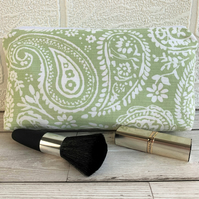 Paisley make up bag, cosmetic bag or pencil case in pale green and white