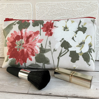 Floral make up bag, cosmetic bag or pencil case in cottage garden print fabric