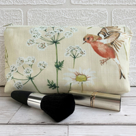 Make up bag, cosmetic bag with chaffinch, daisies and cow parsley