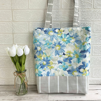 Tote bag in pastel floral and striped fabrics