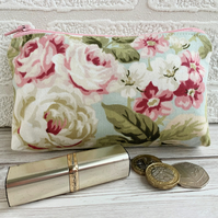 Large purse, coin purse with pastel rose and floral pattern