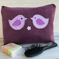 Purple toiletry bag, wash bag with lilac and mauve love birds