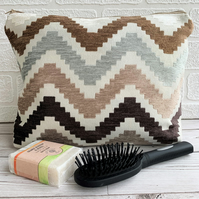 Toiletry bag, wash bag with textured chenille zigzag stripes in neutral shades