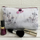 Coastal flowers and reeds large make up bag with purple buttons