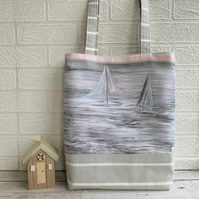 Tote bag with pastel sailing yachts scene
