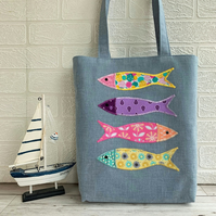 Fish tote bag with four bright colourful fish