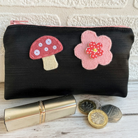 Large black satin coin purse with pink felt mushroom and flower