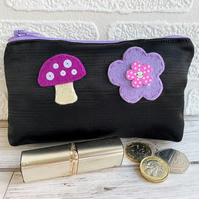 Large black satin coin purse with lilac and pink felt mushroom and flower