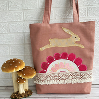 Boho tote bag with leaping hare