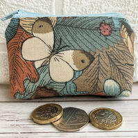 Small purse, coin purse with ladybird and white butterfly