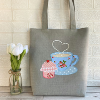 Afternoon tea tote bag with cuppa and cupcake