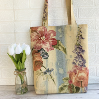 Cottage garden floral tote bag with foxgloves