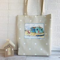 Beach huts and polka dot tote bag