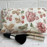 Make up bag, cosmetic bag with strawberries, flowers and butterflies