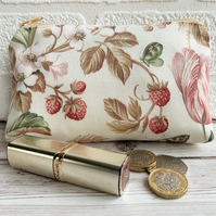 Large purse, coin purse with strawberries, flowers and butterflies