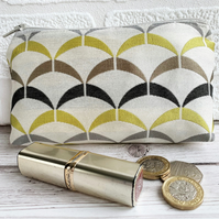 Large purse, coin purse with geometric pattern in cream, mustard and grey