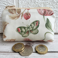 Small purse, coin purse with butterfly, strawberries and flowers