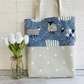 Sheep and polka dot tote bag in blue and cream