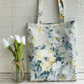 Yellow and white pastel rose and cottage garden floral tote bag
