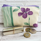 Large purse, coin purse with purple flower