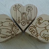 Wooden Heart Jewellery Treasure Box