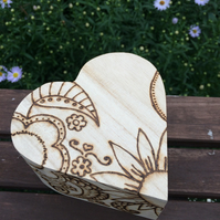Wooden jewellery, treasure heart box