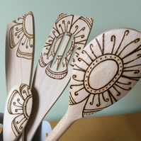 Wooden pyrographed kitchen spoons, utensils, Mother's Day, Bunch of flowers gift