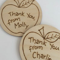 One Wooden coaster with Apple, Thank You pyrographed design