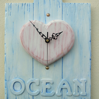 Wall Clock Ocean Design Wood Heart Hand Crafted Reclaimed Wood Driftwood