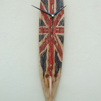 Wall Clock Surf Board Wood Longboard Union Jack Coloured Design GB With Fin