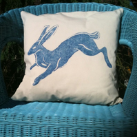 Natural cotton canvas cushion with Hare design.