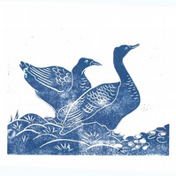 Hand Pressed Linocut of Two Hawaiian Geese in Blue