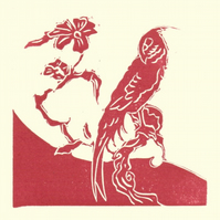 The Plum Tree. Original Linocut of a Cockatiel on a branch.