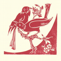 The Orange Blossom Branch. Original Linocut of two crows on a branch.
