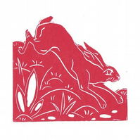 Pack of 3 Linocut Hare Greeting cards.