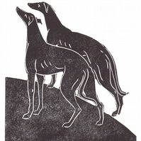 Pack of 3 Linocut greeting cards with two loyal Hounds 'Grace and Loyalty'