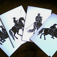Set of 4 'Iberian Horsemen' greeting cards.