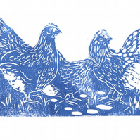 Breakfast Time... Original Linocut of Three Wyandotte Chickens.