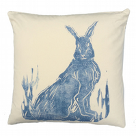 Natural canvas cushion with Sitting Hare design