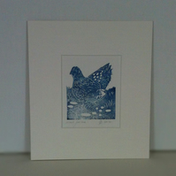 Hand pulled Linocut print of a Wyandotte Chicken.