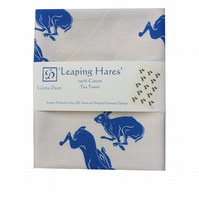 Leaping Hare natural cotton Tea Towel