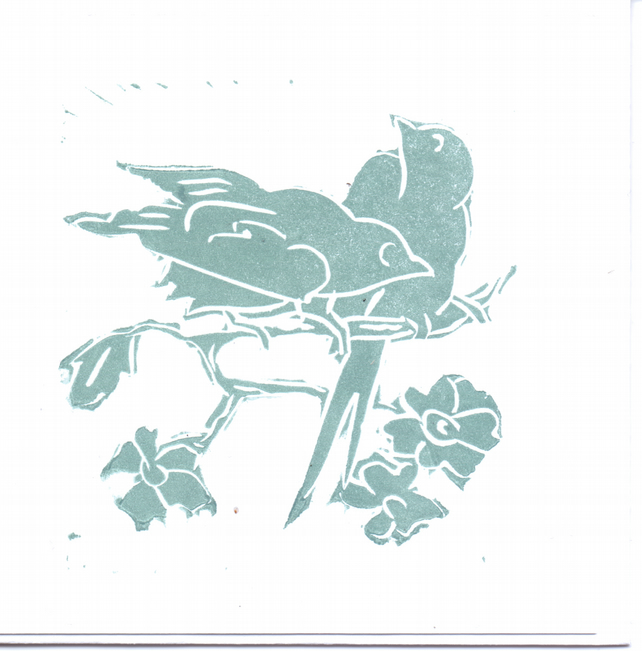Pack of 3 'Two little Birds' greeting cards.