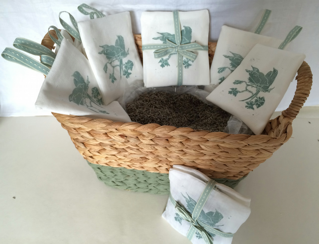 2 Hand printed Linocut Lavender sachets with little birds motif.