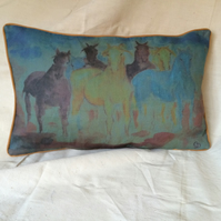 Linen Art Cushion with Horses in Blue.
