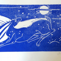 Moon Run. Limited edition Linocut  print of a Hare at night.