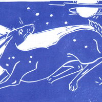 Pack of 4 Hare greeting cards…Moon Run