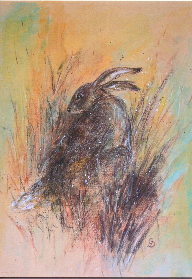 Sitting Hare greeting card
