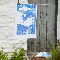 Night Hare Linen Union Tea Towel with running hare design