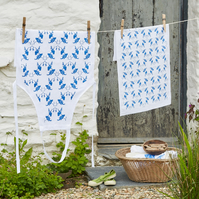 Blue and White 'Chatterbox' Apron and Tea Towel Gift Set