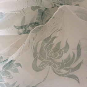 Jade Chrysanthemum Handprinted Long Silk Chiffon Scarf